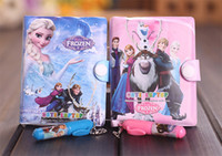 Wholesale hot sale Frozen Elsa Anna New Children Book Leather Notebook The Glue Notebooks With Pens Kids Child Statione