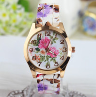 Wholesale 2014 Fashion Ladies Dress Quartz Watch Rose Flower Print Silicone Watches Floral Jelly Sports rose gold case Candy Bracelet Watches