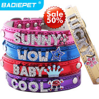 Collars dog charms - Big Sale off Top Quality Metallic pu leather Personalized DIY Name Charm Dog Collar Dog Supplies Price exclude sliders