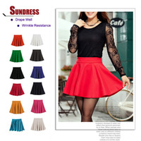 Cotton plain jersey - New Skater Stretch Waist Plain Flippy Flared Pleated Jersey Short Skirt Sundress hot