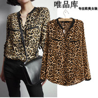 Long Sleeve Women None New European and American V-neck Plus size women's long-sleeved leopard ladies blouses women clothing