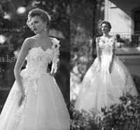 white Empire A line wedding dresses Fairy romantic lace appl...