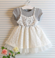 Wholesale Summer Flower Tutu Sugar Korea Children Girls Lace Short Sleeve Dress Floral Kids Princess Dress Alse Two Piece Party Dress T E0106