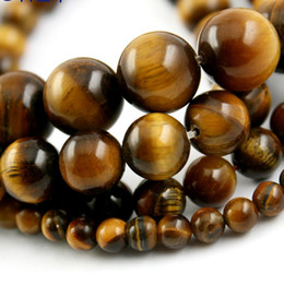 Wholesale Natural Semi Precious Gemstones Beads mm mm mm mm Round Smooth Ball Tiger eye Stone Beads Loose Beads DIY Material