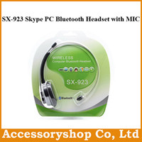 Wholesale SX Wireless Earphone Computer Bluetooth Headset with MIC for iPhone iPad Samsung PS3 Skype MSN QQ With Retail Box