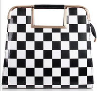 Shoulder Bags and bag - Color block women s handbag black and white plaid horsehair bags shaping bag one shoulder cross body handbag