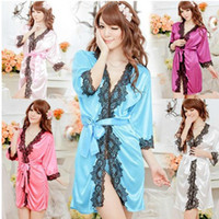 Wholesale 2014 New Sexy Lingerie Satin Nighty Gown Robe Long Sleeves Mini Dress Sexy Sleepwear Lace L0665