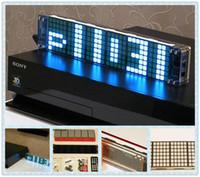 Mechanical Desk Clocks Yes 1pcs blue LED dot matrix clock Seamless square GPS timing animation effects electronic clocks+Power Supply+USB cable free ship