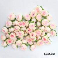 Christmas silk flower heads - 100 Artificial Flowers Light Pink Colors Roses Silk Flower Head Arrangement Wedding Party Decorative Hot Sale