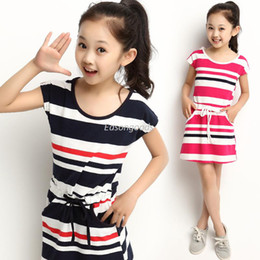 Wholesale 2014 Hot Sell Kids Clothing big girl cotton dress with pockets pre teen navy striped vest skirt set height cm