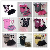 Wholesale 2014 NEW Baby clothing Girl Ppcs Set short sleeve rompers Headband tutu skirts baby Leopard suit Colors