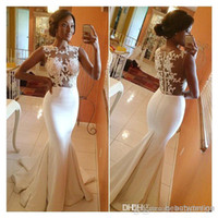 Wholesale 2015 Beach A Line Wedding Dresses High Neck Mermaid Brush Prom Gowns Sheer Lace Appliques Zip Formals Evening Gowns Celebrity Dress BO5688