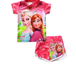 Wholesale 20pcs In Stock Frozen Anna Elsa Kids Swimwear Swim Set Children Girls Snow Queen Beach Wear Childs Girl Separate Bathing Suit H1064