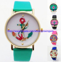 Wholesale 110pcs New hot fashion Brand Geneva women laides rose flower watches anchor bracelet dress men quartz popular unisex leather watches