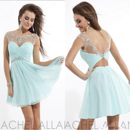 Charming Crew Sexy Beaded Ruched Sash Short Chiffon Top Sheer Backless Cocktail Dress Homecoming Dresses