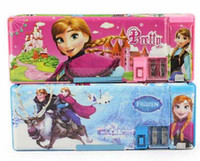 Plastic   10pieces lot Students pencil case Fashion cartoon style Frozen girls Elsa & Anna pencil box stationery for children free shipping