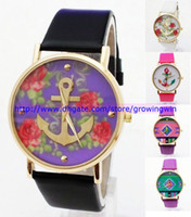 Wholesale Fashion Anchor Leather GENEVA Watch For Women Dress Watch Leather Strap Watch Rose flower styles ladies men watches