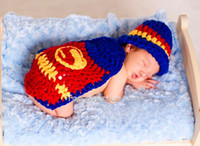 Boy Summer Crochet Hats Toddler CCrochet Knit Cotton Handmade crochet Hat Newborn handmade Knitted Girls Infant Costume Photogragh outfits Super-man Sets PZ-031
