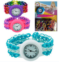 Wholesale Children Loom Watches DIY Knitting Braided Rainbow Kit Rubber Loom Bands Self made Silicone Bracelet Craft Tools Watch Rubber Clip Hook gift