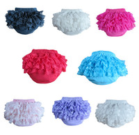 Girl baby bloomers - Baby Girls Bloomers toddler kids lace cotton Ruffle Pants Diaper Nappy Cover children Shorts clothing Y