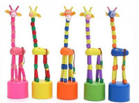 Wholesale Hot Sale Colorful Wooden Giraffe Push Up Puppet Giraffe Roll Neck Giraffe Decorative Toy retail package