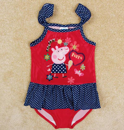 Wholesale Peppa Pig Swimsuit Baby Girl Swimwear Beach Swimsuit Polka Dots Children Cartoon Swimwear Kids Summer Clothing Salmon New Nova R4786