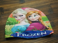 Wholesale For The Summer Children Swimming Caps Shower Caps Cartoon Frozen Printed Elsa Anna Bathing Cap Free Size M0244