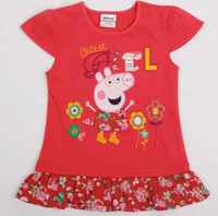 TuTu Summer A-Line 2014 Summer Clothing New style Cartoon Peppa Pig Girls Embroider Dress Kids Short sleeve Dresses Children Peplum T Shirt 5pcs lot SM08