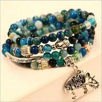 Wholesale Multilayer bracelet hand string Natural stone Tourmaline garnet agate colorful natural stones