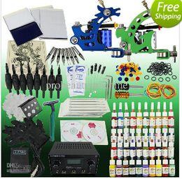 Wholesale TNT Shipping Pro Tattoo Kit Machine Gun Color Ink Power Supply Needles Set Equipment T002
