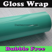 Whole Body apply glue - Shiny Glossy Vinyl Tiffany Blue mint For Car wrapping Film Car stickers easy apply with Air bubble Free size x30m Roll