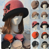 Wholesale A104 Flower Trimmed Womens Winter wool Cap Cloche Crochet Hat color to choose
