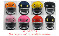 Wholesale Hot Sale New Style Crocodile Mouth Adjustable Hat Popular children s hat Baseball cap Big shark teeth baby boomer cap colors