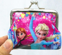 Wholesale 2014 Girls D Cartoon Frozen Coin Purse with iron button Anna Elsa Olaf shell bag wallet Purses children child Gifts For Holidays Christmas