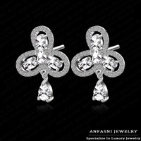 Dangle & Chandelier jewelry made in china - 2014 New Trendy In Fashion Leaf Earrings Real Platinum Plate Swiss Cubic Zircon Stud Earrings Jewelry For Girls Made In China