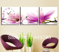 Metal Christmas Bowl Gorgeous Magnolia Modern Wall Art WIth Clock Canvas Print 3 Panel Set Free shipping