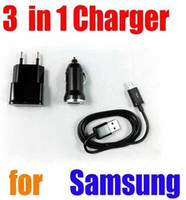 Car Chargers For US  3 in 1 sync cable 1A wall charger adapter 1A Mini car charger kit sets for iphone 5 5G Samsung Galaxy series with retail box 100 sets