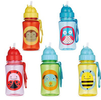 Wholesale Ttritan Zoo Children s Water Bottles Safety baby cups kids Animal Straw Bottles Tour sports bottle