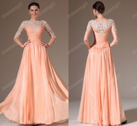 Reference Images High Neck Chiffon 2014 Hot Lace Sheer 3 4 Long Sleeves Chiffon Prom Dresses Applique Beaded Backless See Though Floor Length Beach Wedding Party Evening Gowns