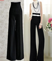 Women Wide Leg Pants N/A wholesale 20pcs hot Vintage Womens Career Slim High Waist Flare Wide Leg Long Pants Palazzo Trousers UPS fedex free shipping