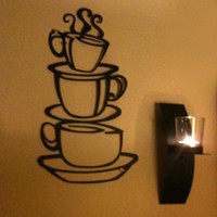 Paper Wallpapers Waterproof Living Room Hot Selling Removable Coffee House Cup Vinyl Wall Art Metal Mug Wall Sticker Decals DIY Kitchen Decor Drop Shipping HG-061549