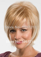 Wholesale Beautiful Chic Short Straight Oblique Bangs Blonde Synthetic Hair Capless Ava Wig About Inches