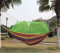 Wholesale New Outdoor Furniture Portable Canvas Leisure Fabric Stripes Hammock With Mosquito Net For Beach Travel Camping Tourism Hunting Good Quality