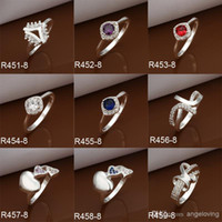 Cheap Mixture style 925 Silver rings sparkly CZ Zircon Rings Colorful Diamond Rings For Fashion women's 20pcs Free Shipping
