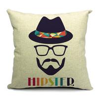 cotton Linen sofa cover - Moustache Cushion Cover Set Vintage Fashion Hip Pillow Case Sofa Cover cm