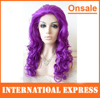 Curly Synthetic Hair Wig,Half Wig In Stock---Cheap hand tied synthetic lace front wigs long purple wigs big curl curly party dresses stocking cosplay wig