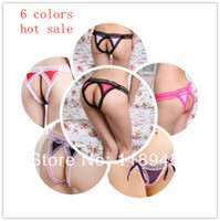 Woman Three Point Type Gauze wholesale-Hot Sale Women's Ladies Lace Sexy Mesh Back Open Crotch Thong Panties Briefs G-String Panties Underwear- Free Shipping
