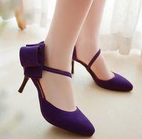 Cheap Fashion Print Plant Purple Pumps Dress Thin High Heels Shoes For