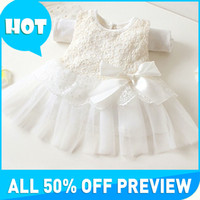 Wholesale New baby girls summer dresses children clothing cotton ball gown dress kids bow lace princess clothes colors high quality