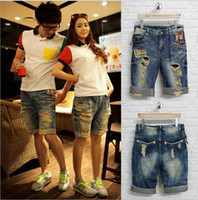 Jeans Women Bootcut Men women lover loose cuffed ripped hole jeans shorts 2014 summer new design boyfriend knee-length short denim s overalls